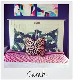 I love the idea of a white headboard on a navy blue wall. This might need to happen.