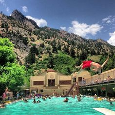 epic action shot from Eldorado Springs Pool State Of Colorado, Colorado Homes, Boulder Colorado, Colorado Trip, El Dorado Springs, Pictures Of Beautiful Places, Another Day In Paradise, Action, Summer Heat