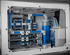Custom White / Blue PC water cooling g build - gaming rig Lego style Gaming Pc Build, Computer Build, Gaming Pcs, Gaming Room Setup, Computer Setup, Pc Setup, Office Setup, Computer Case, Computer Technology