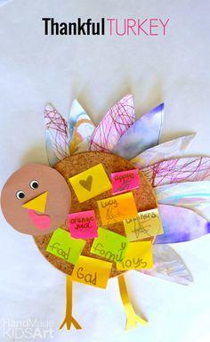 Thankful Turkey Corkboard Craft for kids! See 15 FUN Thanksgiving kids crafts on www.prettymyparty.com.