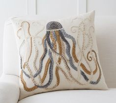 Jeweled Octopus Embroidered Pillow Cover