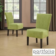 Portfolio Duet Emma Spring Green Velvet Upholstered Armless Chair (Set of 2) | Overstock.com Shopping - The Best Deals on Dining Chairs