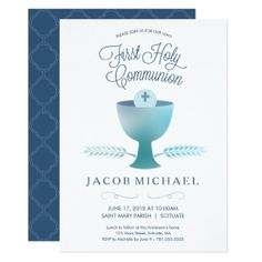First Communion Invite - Boy's 1st Holy Communion - boy gifts gift ideas diy unique