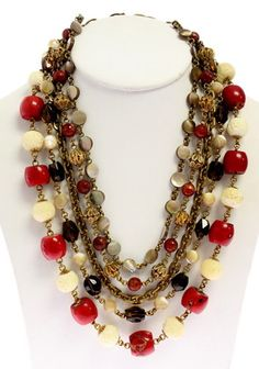 STEPHAN DWECK Coral Off White Pearl Topaz Beaded Gold Link Chain Necklace BID NOW @ www.ShopLindasStuff.com