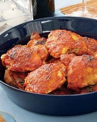 chicken thighs in spicy tomato-pepper sauce