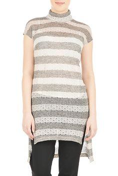 #Stripe #sweater knit #turtleneck dress
