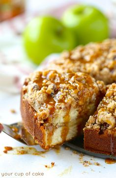 Caramel Apple Coffee cake, this is perfect for fall!