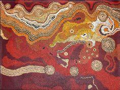 Tjungkara Ken - Seven sisters dreaming  http://www.aboriginalsignature.com/art-aborigene-tjala/peinture-aborigene-tjungkara-ken-122x90cm