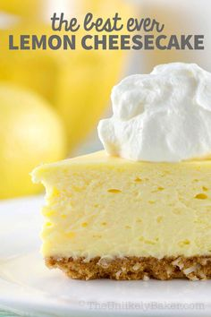 This is the best lemon cheesecake ever. Exquisitely light and lemony. Perfectly sweet and tangy. Crunchy coconut cookie crust. Delightful lemon whipped cream. So good! Perfect for all your celebrations like Easter, Mother's Day, Christmas, Thanksgiving, everyday. #lemoncheesecake #emondessert #cheesecakerecipe #easydessert Best Lemon Cheesecake Recipe, Lemon Dessert Recipes, Easy Cheesecake Recipes, Easy Baking Recipes, Homemade Desserts, Lemon Recipes, Sweet Desserts, Easy Desserts, Summer Recipes
