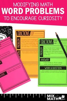 By making just a few small changes to your word problems, you can easily differentiate math problem solving for your students and inspire curiosity. There are several strategies that you can implement in whole group instruction or small Problem Solving Activities, Math Games, Math Activities, Fifth Grade Math, Sixth Grade, Fourth Grade, Third Grade, Math Word Problems, Fraction Word Problems