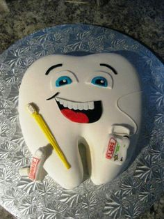 Tooth cake. Perfect cake for my son, whose a dentist.
