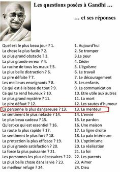 Questions to gandhi - # to - # Thought Quote Quotes Quotes Development… Positive Mind, Positive Attitude, Quotes Positive, French Language Lessons, French Lessons, French Expressions, Quote Citation, French Quotes, Thats The Way