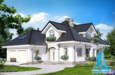 Dom w kokosach House Outside Design, House Front Design, Village House Design, Bungalow House Design, Beautiful House Plans, Modern House Plans, Classic House Design, Modern House Design, Architectural Design House Plans