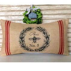 French Bee Wreath Pillow || Burlap French Country Chic, but Made In USA || GreatGiftAndPaper.com