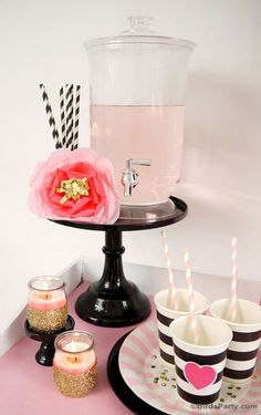 Lovely pink and black cocktail party! See more party planning ideas at CatchMyParty.com!