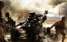 howitzer m777 a2 155 mm artillery marines men dust volley