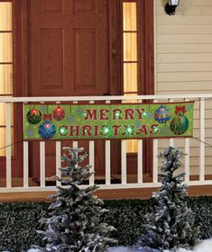 Wish Merry Christmas to everyone in your neighborhood with this outdoor 5-Ft. LED Holiday Banner. It has ties onall 4 sides for quick and easy attachment