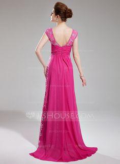 Sheath/Column V-neck Watteau Train Chiffon Lace Prom Dress With Ruffle Beading (018019769)