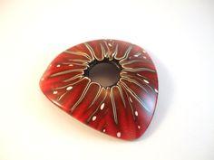 Red polymer clay starburst pendant