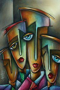 Michael Lang Painting - The Union by Michael Lang Cubist Art, Abstract Face Art, Art Pages, Urban Art, Sculpture Art, Fine Art America, Pop Art, Artwork, Annex