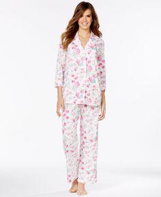 b8e1fbb949 Lauren Ralph Lauren 3 4 Sleeve Notch Collar Top and Pajama Pants Women -  Bras