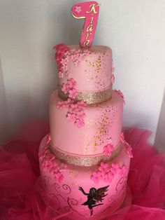 Fairy birthday cake, pink and gold.