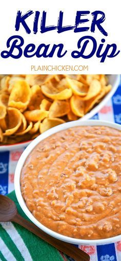 Killer Bean Dip - only 5 ingredients! Refried beans, hamburger, taco seasoning, salsa and Velveeta. Can make on the stove or in the slow cooker. This stuff is CRAZY good! Great for tailgating! I could make a meal out of this dip. Mexican Dips, Mexican Appetizers, Appetizer Dips, Appetizer Recipes, Mexican Food Recipes, Mexican Bean Dip, Delicious Appetizers, Meat Appetizers, Yummy Food