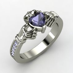 Heart Iolite 18K White Gold Ring with Tanzanite | Claddagh Ring | Gemvara