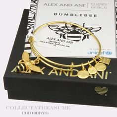 Authentic-Alex-and-Ani-Bumble-Bee-Unicef-Yellow-Gold-Bangle