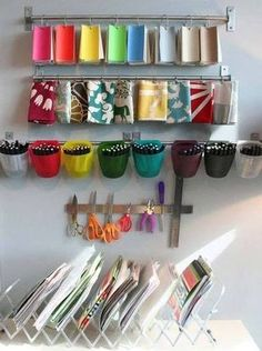 Sewing room wall storage ideas