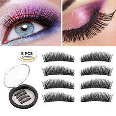 7fb8c376975 Magnetic Eyelashes Dual Magnetic False Eyelashes 3D Reusable Fake Magnet  Eyelashes, No Glue 0.2MM