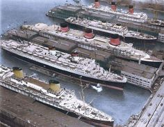 "raurrie: ""Ocean Liner Row, 1930s. Top to bottom, Berengaria, Georgic, Normandie, Rex and the Europa. """