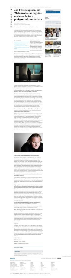 """Título: Jon Fosse explora, em """"Melancolia"""", as regiões mais sombrias e perigosas de um artista Veículo: Estadão Data: 09/01/2016 Cliente: Alaúde"""