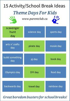 15 Activity and School Break Theme Day Ideas for Kids, camp theme ideas, boredom busters via www.parentclub.ca