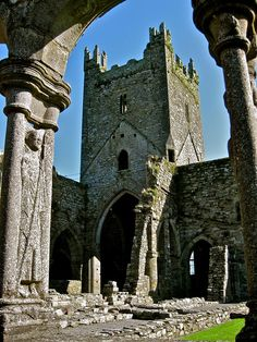 Jerpoint Abbey ruins (12th century), Thomastown, County Kilkenny, Ireland.