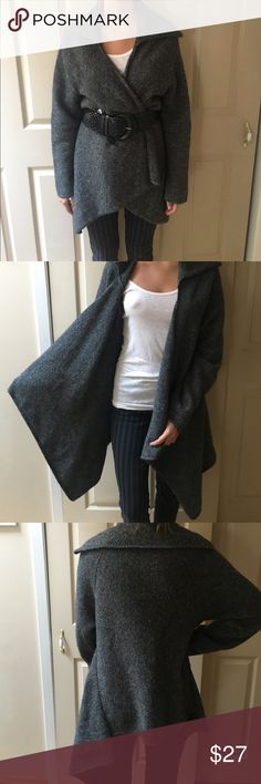Gray black tweed sweater The coziest wrap sweater to snuggle into during those winter months. Kenar Sweaters Shrugs & Ponchos