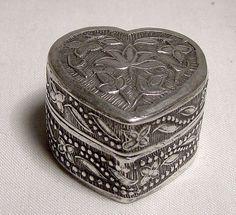 Yogya or Dkokja Java 800 Silver Heart Shaped Pill Box Beaded
