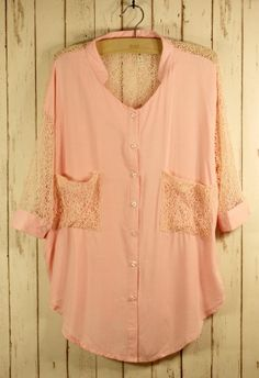 Peach Chiffon w/ Lace Sleeves