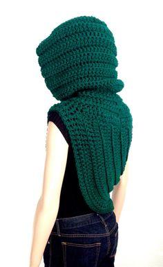 Hooded Cowl/ Crochet Sweater Cowl/ High Fashion by Africancrab High Fashion, Winter Fashion, Hooded Cowl, Winter Accessories, Neck Warmer, Knit Crochet, Green, Sweaters, Handmade