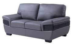 Contemporary Dark Grey Black Full Leather Loveseat