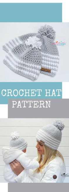 I love this matching crochet hats. I need this pattern to make these hats. $4.74 CROCHET HAT PATTERN Arctic Flurry Crochet Hat Pattern Winter Hat Crochet Pattern Pom Pom Hat pattern Sizes, Baby Toddler Child Teen Adult xl. #baby #gift #crochet #hat #ad
