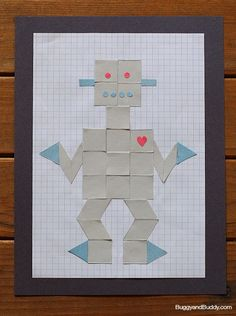 Art and Math for Kids: Create robots on graph paper using cut out paper shapes! ~BuggyandBuddy.com
