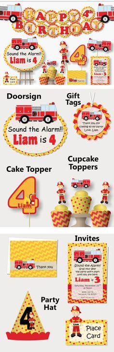 Fireman Firetruck Fire Man Truck Birthday Party Decorations, Favor, Banner, Cake Topper, Cupcake #bcpaperdesigns