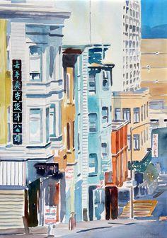 San Francisco  by  Katherine McGuire  #watercolor