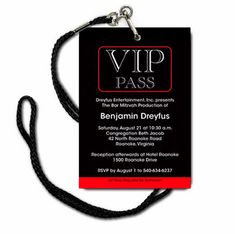 This Bar Mitzvah invitation has a VIP pass design including your personalized event information and a red and black color scheme. Quince Invitations, Quinceanera Invitations, Party Invitations, Broadway Theme, Vip Pass, Bar Mitzvah Invitations, Disco Party, Gymnastics Party, Basketball Party