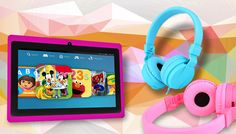 7 inch Children's Android Tablet with Folding Headphones Let your little one step into the future with the 7 inch Children's Android Tablet Bundle      Includes 7 inch tablet and foldable headphones      Available in blue or pink      Tablet features an advanced Android 4.4 operating system      Also boasts a silicon case, which adds durability and sturdiness to the tablet      Tablet...
