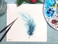 (62) Watercolor Blue Feather Real Time Painting Demonstration - YouTube