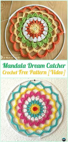 Crochet Tree of Life Dream Catcher Free Pattern Video - Crochet Dream Catcher Free Patterns Crochet Mandala Pattern, Crochet Motifs, Crochet Art, Crochet Round, Crochet Home, Love Crochet, Crochet Doilies, Crochet Flowers, Crochet Patterns