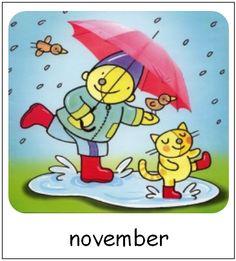 November | Pompom maanden Smurfs, Preschool, November, Doodles, Seasons, Fictional Characters, Prints, Pom Poms, November Born