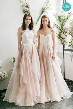 Leanne Marshall A-line wedding dresses with slight pink colored skirts and white tops // We're still dreaming of these refreshing New York Bridal Fashion Week finds from Alexandra Grecco, CHRISTOS BRIDAL, Leanne Marshall and Limor Rosen Bridal Couture! Like your favs, Wedding Scoopers! // : Sophie Kaye Photography for The Wedding Scoop